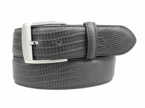 Hochwertiger Ledergürtel dunkelgrau Reptilprägung - Größe 85 (Breite ca. 4 cm) - Bild vergrößern