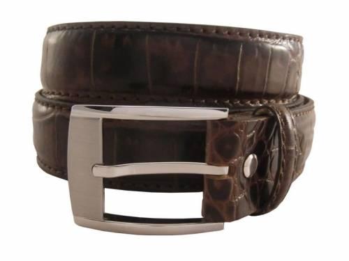 Hochwertiger Ledergürtel braun Alligatorprägung - Größe 115 (Breite ca. 3,5 cm) - Bild vergrößern
