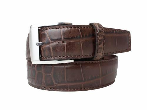 Hochwertiger Ledergürtel braun Alligatorprägung - Größe 115 (Breite ca. 4 cm) - Bild vergrößern