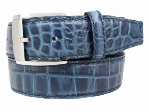 Hochwertiger Ledergürtel jeansblau Alligatorprägung - Größe 105 (Breite ca. 4 cm) - Bild vergrößern
