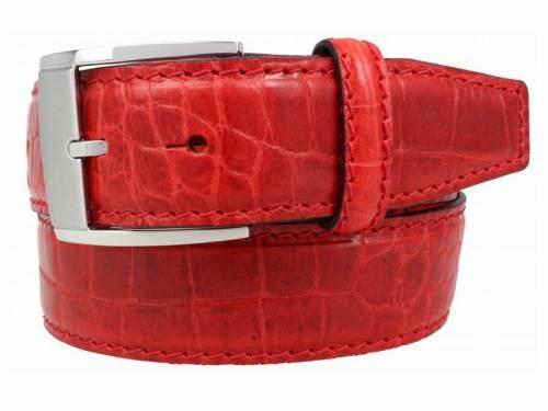 Hochwertiger Ledergürtel rot Alligatorprägung - Größe 105 (Breite ca. 4 cm) - Bild vergrößern