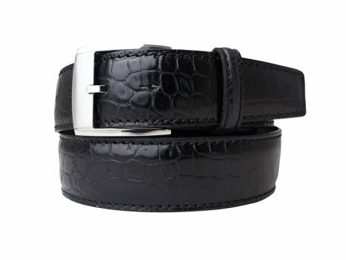 Hochwertiger Ledergürtel schwarz Alligatorprägung - Größe 105 (Breite ca. 4 cm) - Bild vergrößern