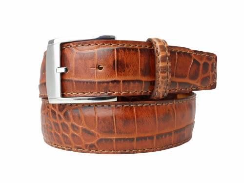 Hochwertiger Ledergürtel rotbraun Alligatorprägung - Größe 115 (Breite ca. 4 cm) - Bild vergrößern