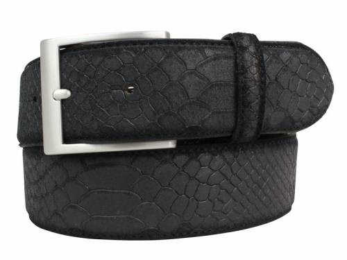 Hochwertiger Ledergürtel schwarz Pythonprägung - Größe 85 (Breite ca. 4 cm) - Bild vergrößern