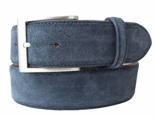 Eleganter Ledergürtel blau veloursartig - Größe 120 (Breite ca. 4 cm) - Bild vergrößern