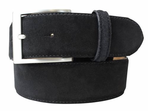 Eleganter Ledergürtel schwarz veloursartig - Größe 120 (Breite ca. 4 cm) - Bild vergrößern