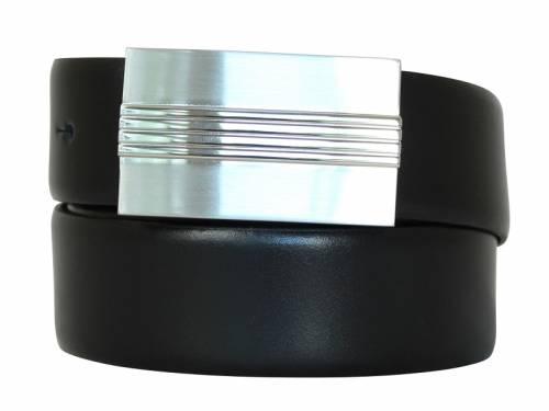Ledergürtel mit Koppelschließe schwarz - Größe 80 (Breite 3,5 cm) - Bild vergrößern