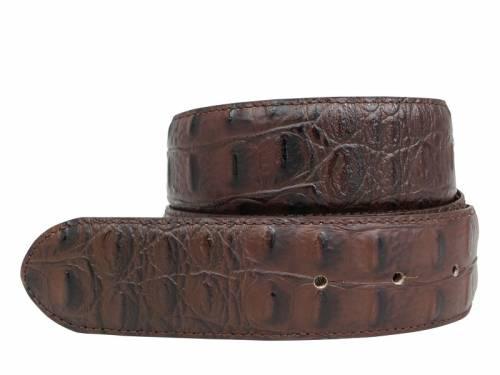 Hochwertiger Ledergürtel OHNE Schließe Druckknopf-System dunkelbraun Krokoprägung - Größe 85 (Breite ca. 4 cm) - Bild vergrößern