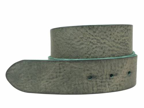 Sportiver Ledergürtel OHNE Schließe Druckknopf-System grün Used-Vintage-Look - Größe 85 (Breite ca. 4 cm) - Bild vergrößern