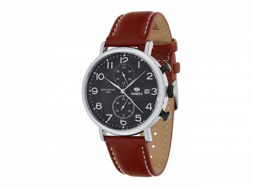 Armbanduhr klassisch Metall silberfarben Ziffernblatt schwarz von Marea (*MR*HU*) - Bild vergrößern