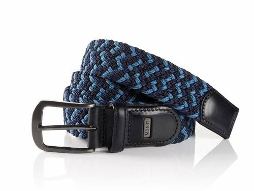 Elastischer Flechtgürtel -Palma- dunkelblau/hellblau/schwarz von Monti - Größe 110 (Breite ca. 3,5 cm) - Bild vergrößern