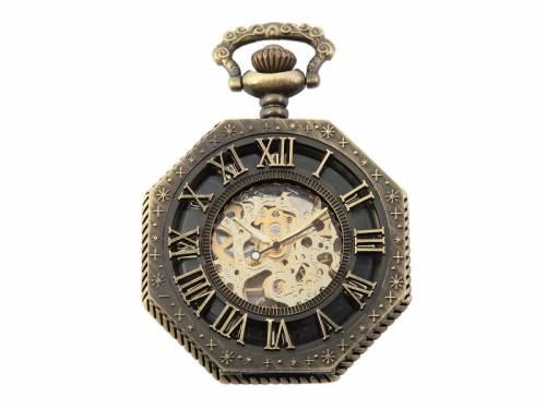 Mechanische Lepine-Taschenuhr bronzefarben Antik-Look Tonneau Ziffernblatt schwarz skelettiert (*SH*TU*) - Bild vergrößern