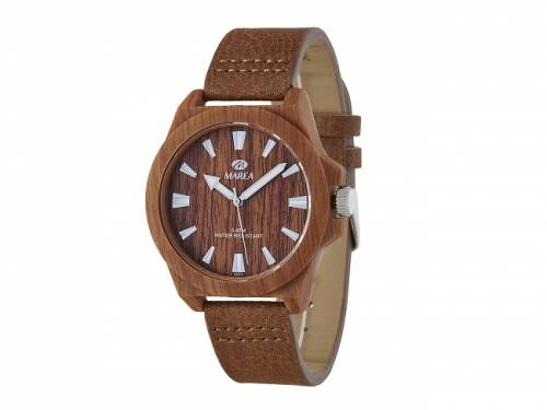 Armbanduhr klassisch Holz-Optik braun Ziffernblatt braun von Marea (*MR*AU*) - Bild vergrößern