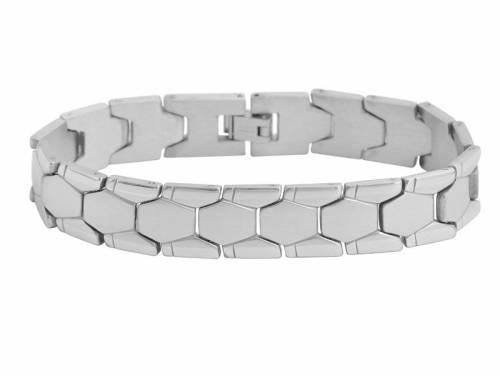 Schmuck-Armband Edelstahl massiv silberfarben teilweise poliert - Bandlänge ca. 22cm - Bild vergrößern