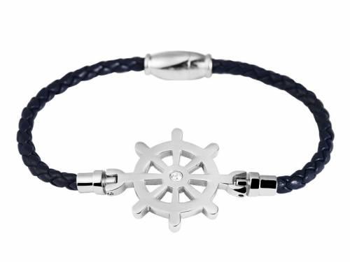 Schmuck-Armband dunkelblau Leder/Edelstahl Verschluß Edelstahl silberfarben - Bandlänge ca. 18cm - Bild vergrößern