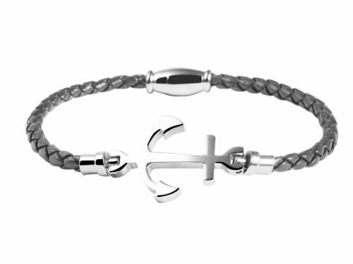 Schmuck-Armband grau Leder/Edelstahl Verschluß Edelstahl silberfarben - Bandlänge ca. 18cm - Bild vergrößern