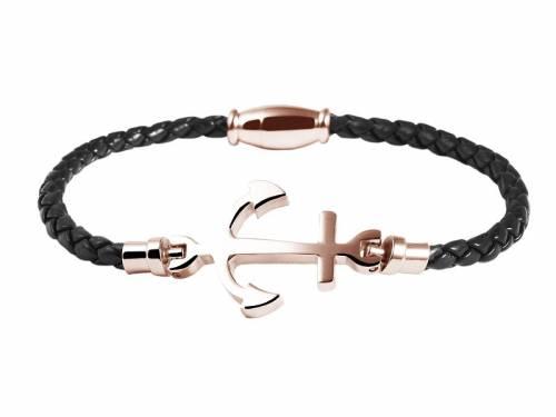 Schmuck-Armband schwarz Leder/Edelstahl Verschluß Edelstahl roségoldfarben - Bandlänge ca. 18cm - Bild vergrößern