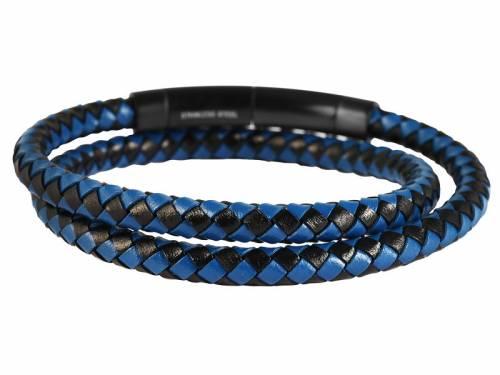 Schmuck-Armband schwarz/blau Leder Verschluß Edelstahl schwarz - Bandlänge ca. bis 42cm - Bild vergrößern