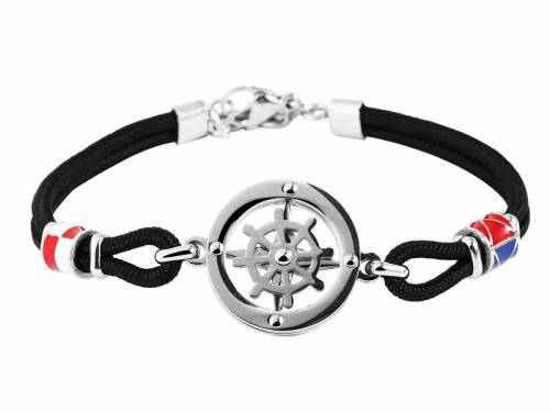 Schmuck-Armband schwarz Synthetik/Edelstahl - Bandlänge ca. 20cm - Bild vergrößern
