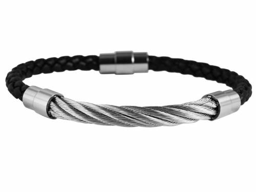 Schmuck-Armband schwarz Leder/Edelstahl Verschluß Edelstahl silberfarben - Bandlänge ca. 21cm - Bild vergrößern