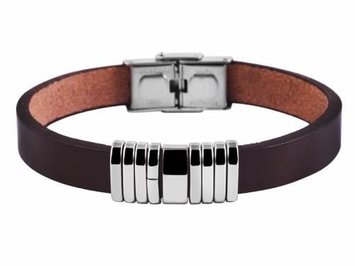 Schmuck-Armband dunkelbraun Leder/Edelstahl Verschluß Edelstahl silberfarben - Bandlänge ca. 21cm - Bild vergrößern
