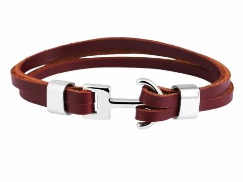 Schmuck-Armband braun Leder/Edelstahl Verschluß Edelstahl silberfarben - Bandlänge ca. 23cm - Bild vergrößern