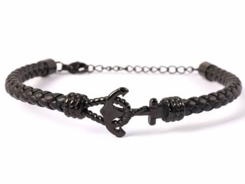 Schmuck-Armband schwarz Leder/Edelstahl schwarz Verschluß Edelstahl schwarz - Bandlänge bis ca. 19cm - Bild vergrößern