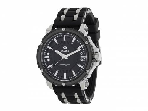 Armbanduhr sportiv Metall silberfarben Ziffernblatt schwarz von Marea (*MR*HU*) - Bild vergrößern