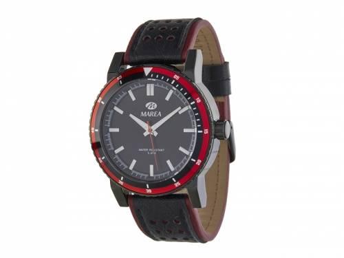 Armbanduhr sportiv Metall schwarz Ziffernblatt schwarz von Marea (*MR*HU*) - Bild vergrößern