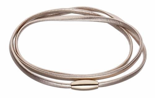 Schmuck-Armband/Collier roségoldfarben Leder Verschluß Edelstahl roségoldfarben - Bandlänge 57cm - Bild vergrößern