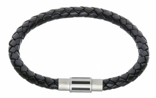 Schmuck-Armband schwarz Leder Verschluß Edelstahl stahlfarben/schwarz - Bandlänge 22cm - Bild vergrößern