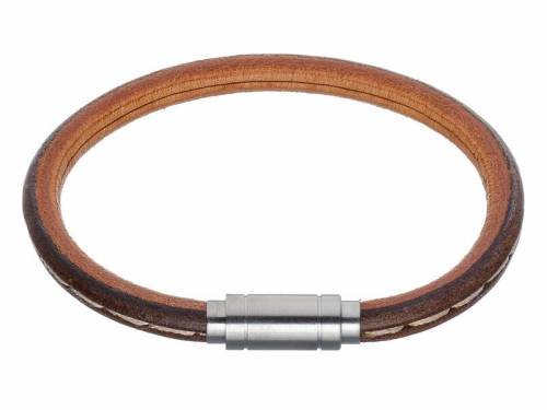 Schmuck-Armband braun Leder Verschluß Edelstahl silberfarben - Bandlänge 22cm - Bild vergrößern