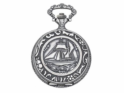 Taschenuhr -Segelschiff- Antik-Look Ziffernblatt weiß von Eichmüller (*EM*TU*) - Bild vergrößern