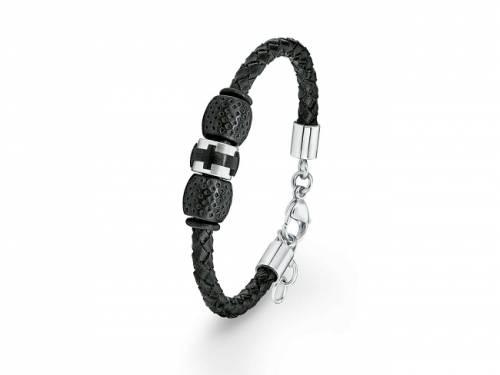 Schmuck-Armband schwarz/silberfarben Leder/Edelstahl von S.Oliver - Bandlänge max. 22cm - Bild vergrößern