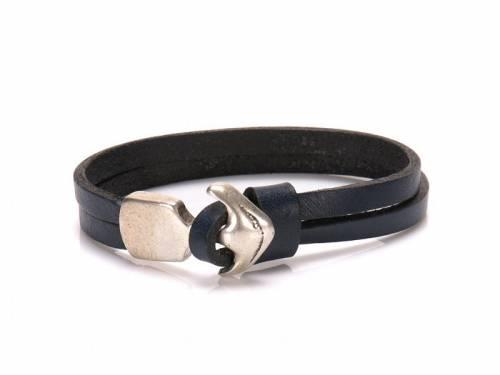 Schmuck-Armband blau Leder Anker-Verschluß altsilberfarben - Bandlänge ca. bis 21cm - Bild vergrößern