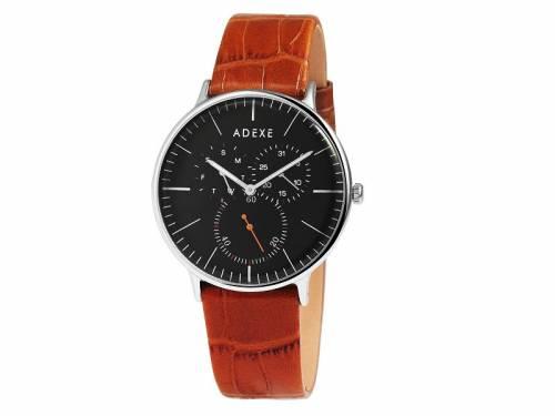 Armbanduhr Edelstahl silberfarben Ziffernblatt schwarz Lederband in hellbraun von ADEXE (*AX*HU*) - Bild vergrößern