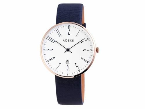 Armbanduhr Edelstahl roségoldfarben Ziffernblatt weiß Lederband in dunkelblau von ADEXE (*AX*HU*) - Bild vergrößern