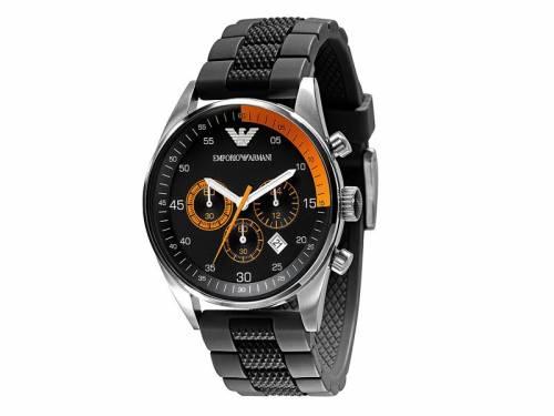 Herren-Chronograph Edelstahl silberfarben Ziffernblatt schwarz/orange Silikonband von EMPORIO ARMANI (*AR*HU*) - Bild vergrößern