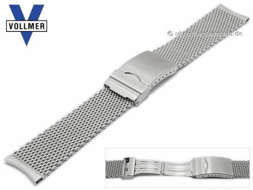 Uhrenarmband -Fellbach XS- 20mm Milanaise extrakurz mittelschweres Geflecht poliert Rundanstoß Faltschließe VOLLMER - Bild vergrößern