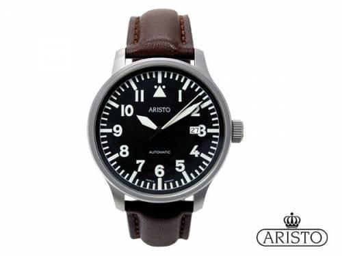 Automatik-Armbanduhr -Beobachter- Edelstahl silberfarben Ziffernblatt schwarz Made in Germany von ARISTO (*AV*HU*) - Bild vergrößern