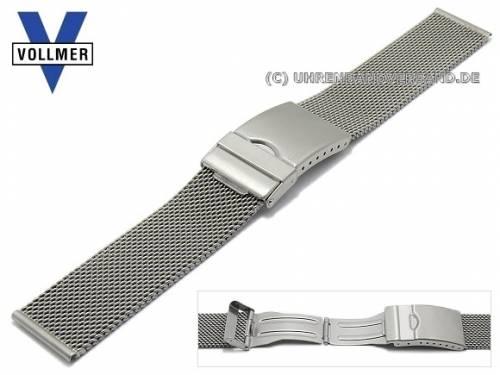 Uhrenarmband -Ettlingen- 20mm Milanaise mittelschweres Geflecht satiniert mit Sicherheitsfaltschließe von VOLLMER - Bild vergrößern