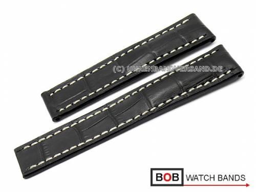Uhrenarmband 20mm schwarz Marino Gator für Breitling Faltschließe von BOB (Schließenanstoß 18 mm) - Bild vergrößern