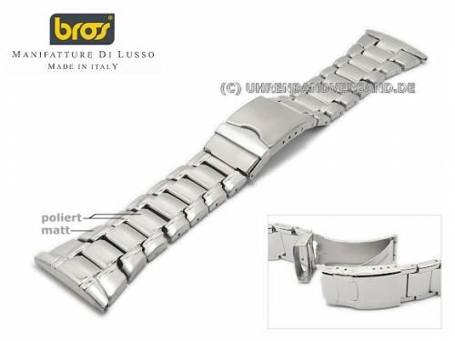 Uhrenarmband 28mm Edelstahl gefaltet teilweise poliert mit Sicherheitsfaltschließe von BROS - Bild vergrößern