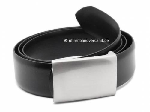 Ledergürtel mit Koppelschließe schwarz - Größe 110 (Breite 3,5 cm) - Bild vergrößern