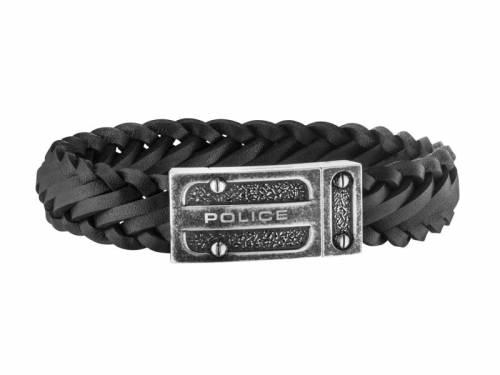Schmuck-Armband -Centaur- schwarz Leder Magnet-Verschluss Edelstahl antik-schwarz von POLICE - Bandlänge ca. 22cm - Bild vergrößern