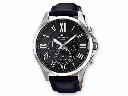 Herrenuhr Chronograph Edifice EFV-500L-1AVUEF Ziffernblatt schwarz mit Lederband von Casio (*CA*HU*) - Bild vergrößern