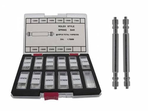 110tlg Spezial-Federstegsortiment Edelstahl silberfarben passend für Rolex 12-22mm gerade und ungerade - Bild vergrößern