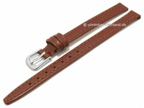 Uhrenarmband 08mm hellbraun Leder genarbt abgenäht (Schließenanstoß 08 mm) - Bild vergrößern