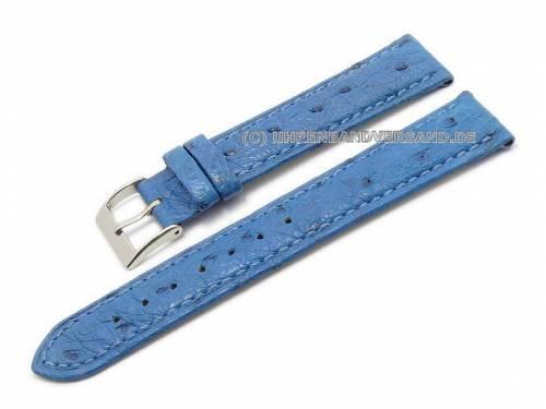 ABVERKAUF: Uhrenarmband 18mm blau echt Strauß leicht gepolstert von CONDOR (Schließenanstoß 16 mm) - Bild vergrößern