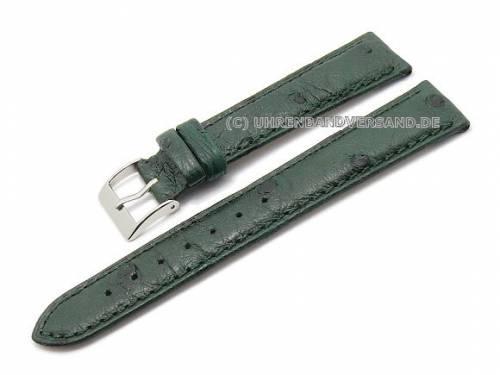 ABVERKAUF: Uhrenarmband 18mm dunkelgrün echt Strauß leicht gepolstert von CONDOR (Schließenanstoß 16 mm) - Bild vergrößern